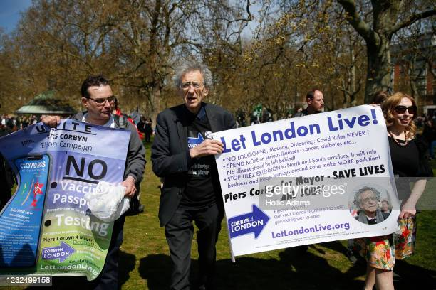 """Piers Corbyn attends a """"Unite For Freedom"""" anti-lockdown demonstration, held to protest against the use of vaccine passports in the United Kingdom,..."""