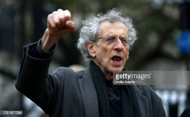 """Piers Corbyn gestures during a """"World Wide Rally For Freedom"""" protest on March 20, 2021 in London, England. """"World Wide Rally For Freedom"""" protests,..."""