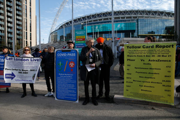 GBR: Anti-lockdown Protest Takes Place Outside Wembley Stadium
