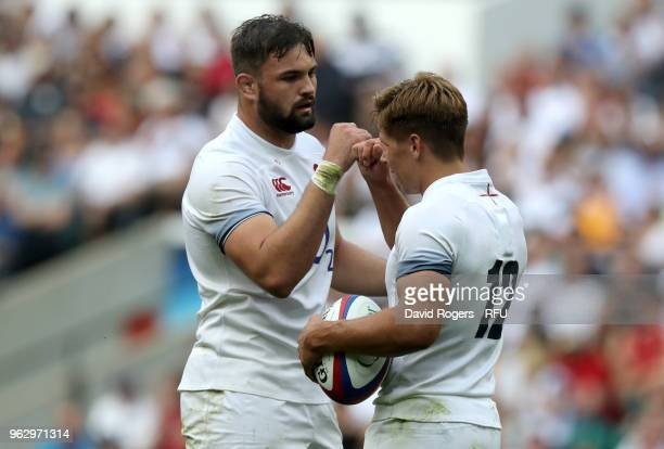Piers Francis of England and Elliott Stooke of England celebrate a try during the Quilter Cup match between England and Barbarians at Twickenham...