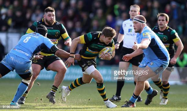 Piers Francis of Northampton charges upfield during the Aviva Premiership match between Northampton Saints and London Irish at Franklin's Gardens on...