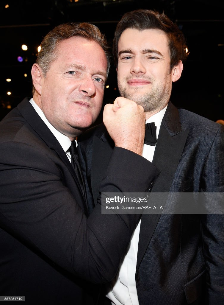 Piers Morgan (L) and host Jack Whitehall at the 2017 AMD British Academy Britannia Awards Presented by American Airlines And Jaguar Land Rover at The Beverly Hilton Hotel on October 27, 2017 in Beverly Hills, California.