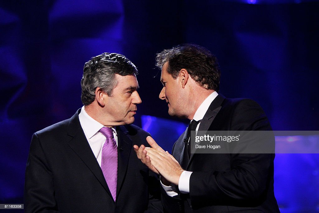 Piers Morgan (R) and PM Gordon Brown speak at the Britain's Best 2008 awards at London Television Studios on May 18, 2008 in London, England. The award ceremony honours outstanding Britons in categories including business, art, television, music, film, sport and fashion.