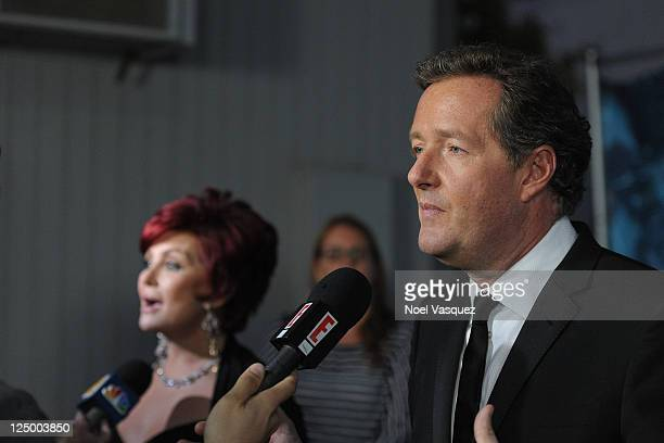 "Piers Morgan and Sharon Osbourne attend NBC's ""America's Got Talent"" season finale at CBS Studios on September 14, 2011 in Los Angeles, California."