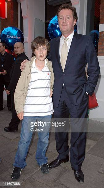 Piers Morgan and son during First News Launch Reception Inside Arrivals at Fire and Stone in London Great Britain