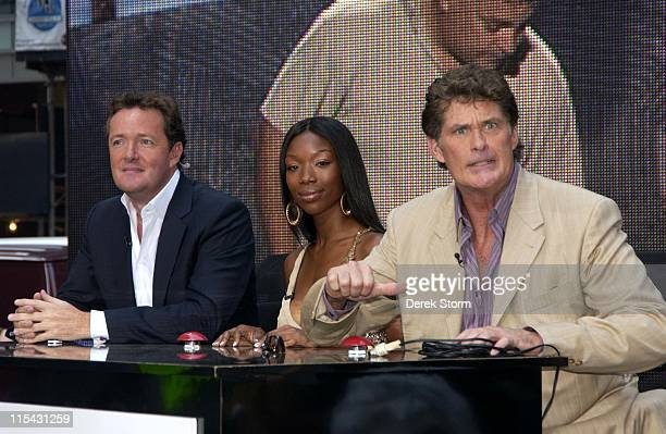 """Piers Morgan, Brandy Norwood & David Hasselhoff during Michael Bolton and """"America's Got Talent"""" Judges Visit NBC's """"The Today Show"""" - June 19, 2006..."""
