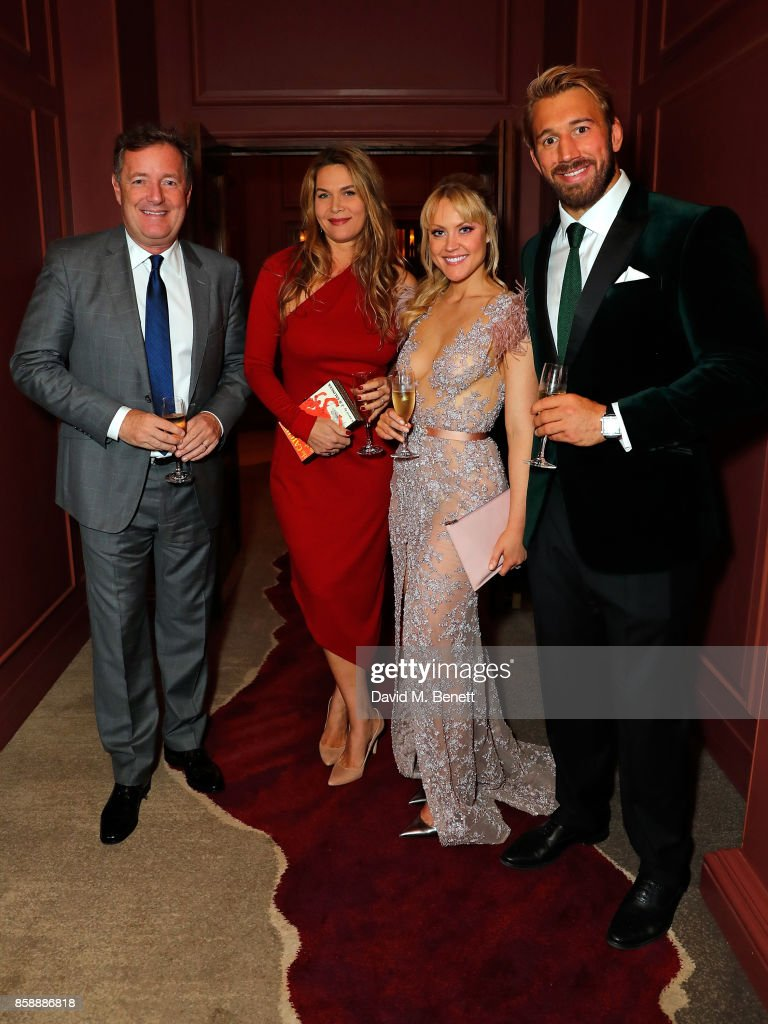 Piers Morgan, Celia Walden, Camilla Kerslake and Chris Robshaw attend Chris Robshaw and Camilla Kerslake's engagement party at Ten Trinity Square on October 7, 2017 in London, England.