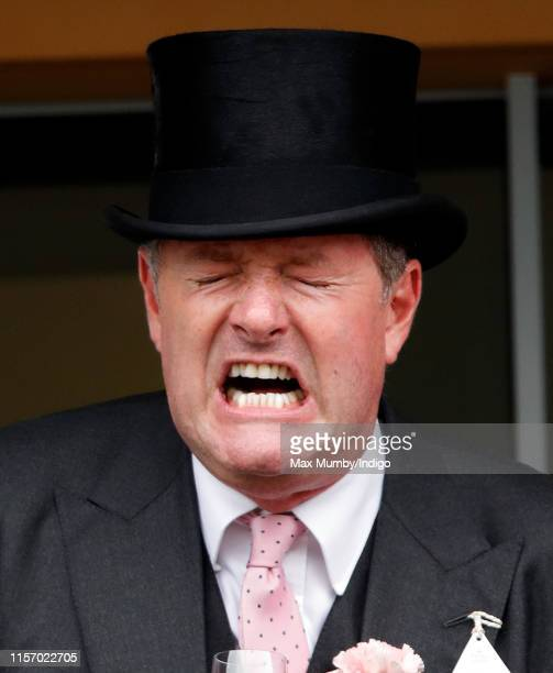 Piers Morgan cheers whilst watching the racing on day two of Royal Ascot at Ascot Racecourse on June 19, 2019 in Ascot, England.