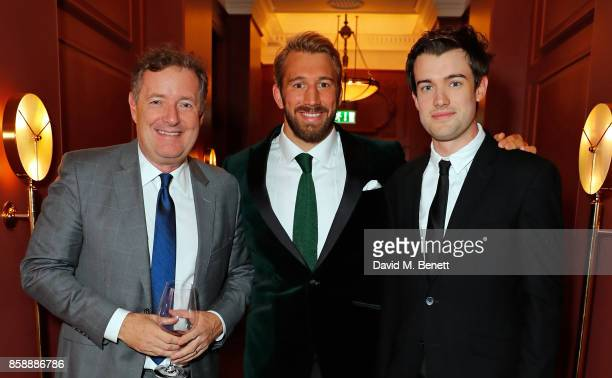 Piers Morgan Chris Robshaw and Jack Whitehall attend Chris Robshaw and Camilla Kerslake's engagement party at Ten Trinity Square on October 7 2017 in...