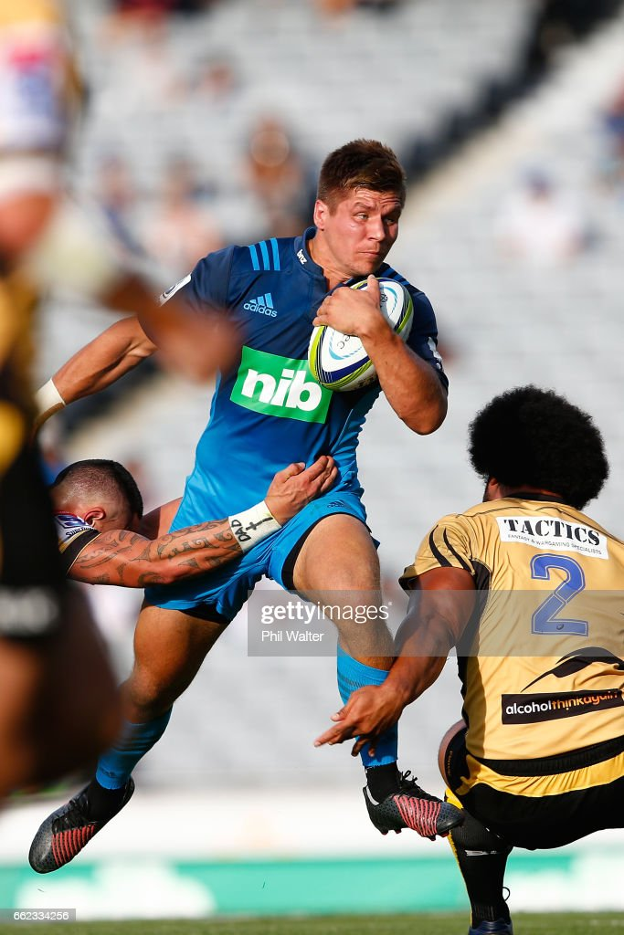 Piers Morgan of the Blues is tackled during the round six Super Rugby match between the Blues and the Force at Eden Park on April 1, 2017 in Auckland, New Zealand.