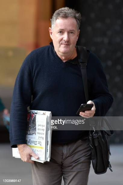 Piers Morgan seen at the ITV Studios on February 04, 2020 in London, England.
