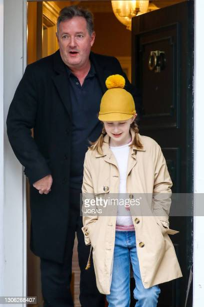 Piers Morgan seen leaving his West London home to take his daughter Elise to school on March 10, 2021 in London, England.