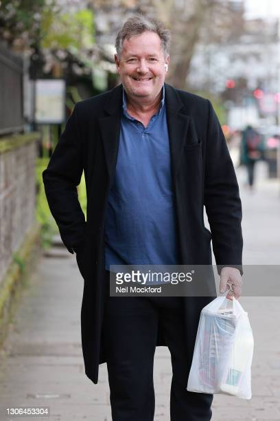 Piers Morgan seen returning to his West London home after doing the school run on March 11, 2021 in London, England.