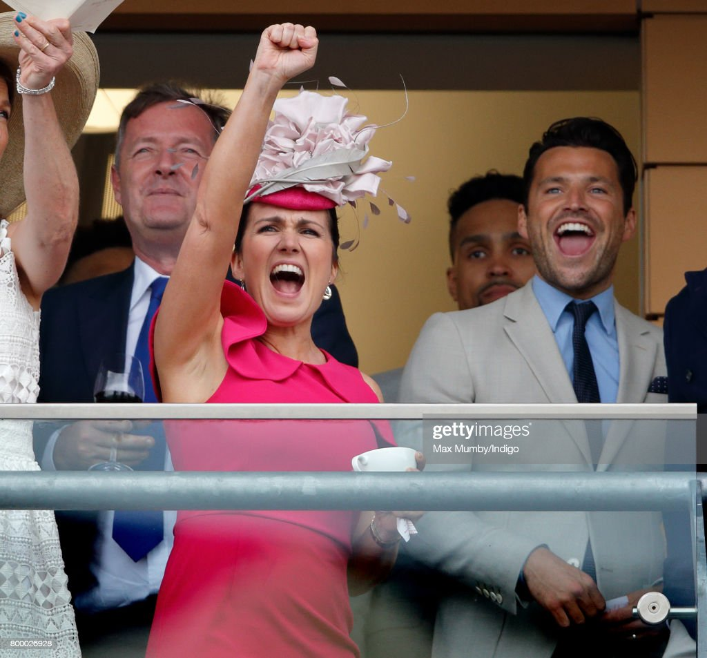 Piers Morgan, Susanna Reid and Mark Wright watch the Gold Cup as they attend day 3, Ladies Day, of Royal Ascot at Ascot Racecourse on June 22, 2017 in Ascot, England.