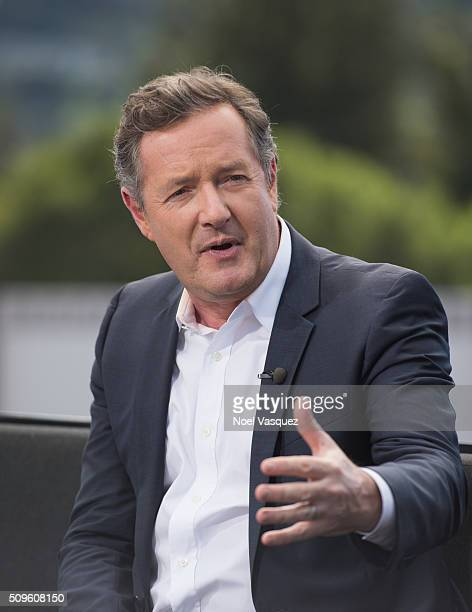 "Piers Morgan visits ""Extra"" at Universal Studios Hollywood on February 11, 2016 in Universal City, California."