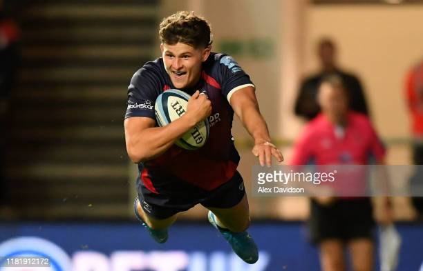 Piers O'Conor of Bristol Bears crosses the line to score his sides fourth try during the Gallagher Premiership Rugby match between Bristol Bears and...
