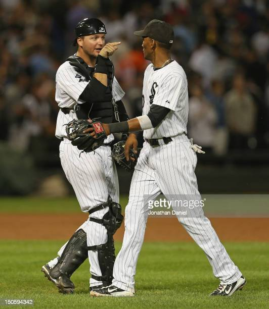 J Pierzynski and Alexei Ramirez of the Chicago White Sox celebrate a win over the New York Yankees at US Cellular Field on August 22 2012 in Chicago...