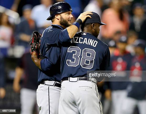 J Pierzynski and Arodys Vizcaino of the Atlanta Braves celebrate the 63 win over the New York Mets on September 23 2015 at Citi Field in the Flushing...