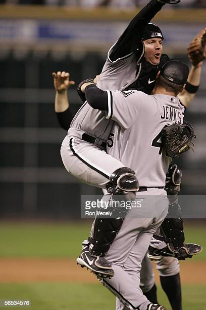 Pierzynski and Bobby Jenks of the Chicago White Sox celebrate winning Game 4 of the 2005 World Series against the Houston Astros at Minute Maid Park...