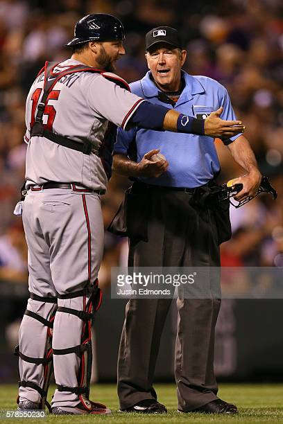 J Pierzynski of the Atlanta Braves argues a call before being tossed from the game with umpire Mike Winters during the eighth inning against the...