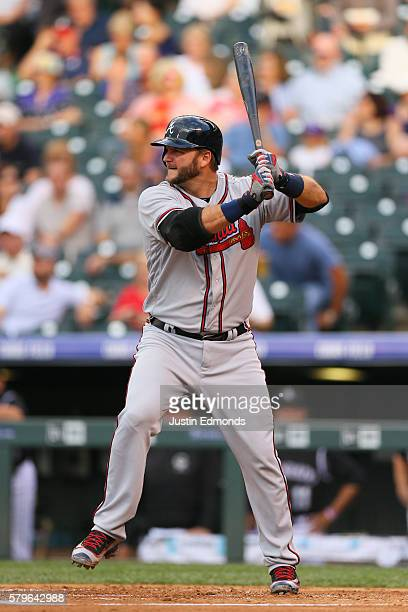 J Pierzynski of the Atlanta Braves bats against the Colorado Rockies at Coors Field on July 21 2016 in Denver Colorado