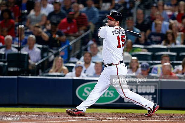 J Pierzynski of the Atlanta Braves bats during the game against the Pittsburgh Pirates at Turner Field on August 4 2016 in Atlanta Georgia