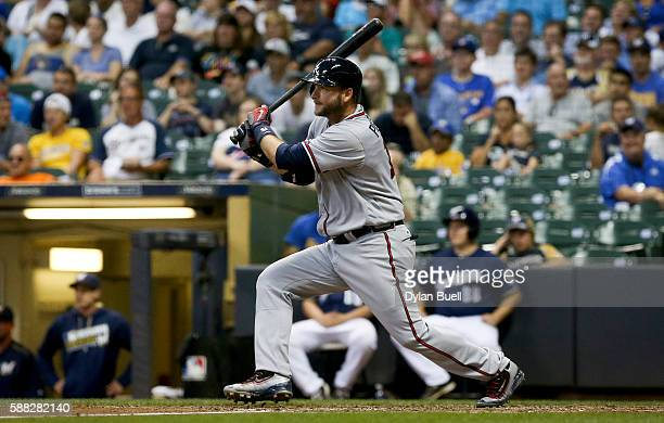 J Pierzynski of the Atlanta Braves hits a single in the seventh inning against the Milwaukee Brewers at Miller Park on August 8 2016 in Milwaukee...