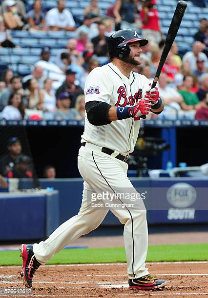 A J Pierzynski of the Atlanta Braves hits a tworun home run in the second inning against the Colorado Rockies at Turner Field on July 16 2016 in...