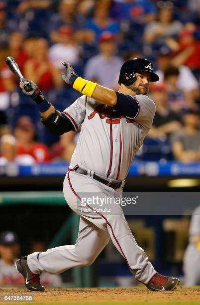 J Pierzynski of the Atlanta Braves in action against the Philadelphia Phillies during a game at Citizens Bank Park on September 2 2016 in...