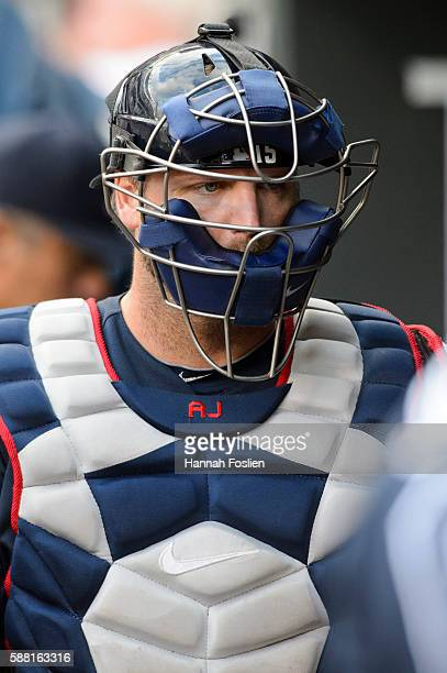 J Pierzynski of the Atlanta Braves looks on before the game against the Minnesota Twins on July 27 2016 at Target Field in Minneapolis Minnesota The...
