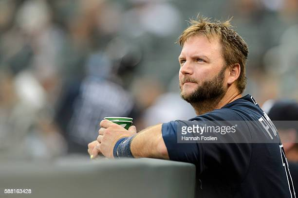 J Pierzynski of the Atlanta Braves looks on during the game against the Minnesota Twins on July 27 2016 at Target Field in Minneapolis Minnesota The...