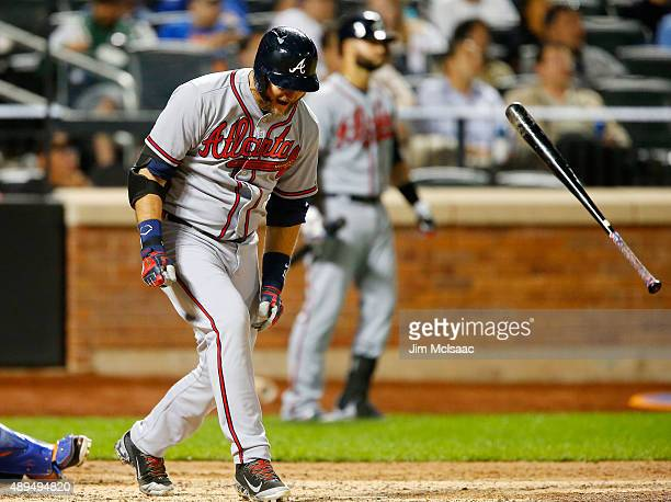 J Pierzynski of the Atlanta Braves reacts after flying out to end the sixth inning against the New York Mets at Citi Field on September 21 2015 in...
