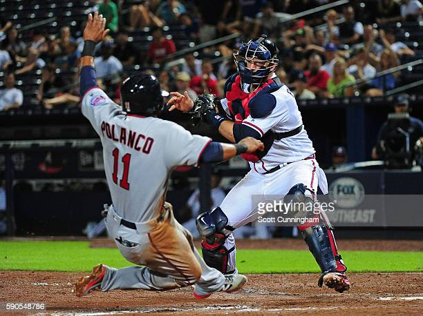A J Pierzynski of the Atlanta Braves tags out Jorge Polanco of the Minnesota Twins during the ninth inning against at Turner Field on August 16 2016...