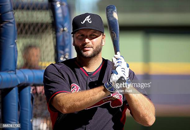 J Pierzynski of the Atlanta Braves takes batting practice before the game against the Milwaukee Brewers at Miller Park on August 8 2016 in Milwaukee...