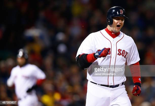 J Pierzynski of the Boston Red Sox reacts after becoming the third out with runners in scoring position against the Tampa Bay Rays during the game at...
