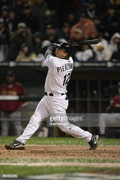 J Pierzynski of the Chicago White Sox bats during Game Two of the Major League Baseball World Series against the Houston Astros at US Cellular Field...