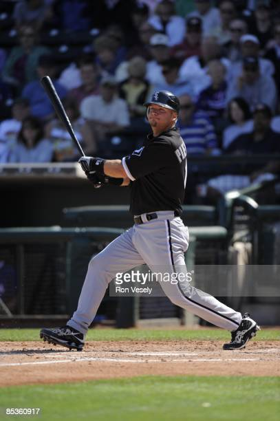 J Pierzynski of the Chicago White Sox bats during the game against the Texas Rangers on March 7 2009 at Surprise Stadium in Surprise Arizona