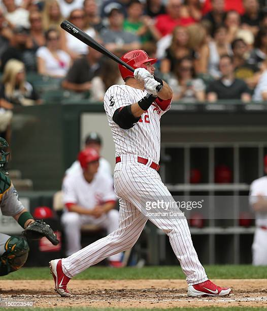 J Pierzynski of the Chicago White Sox hits his 23rd home run of the season a two run shot in the 6th inning against the Oakland Athletics at US...