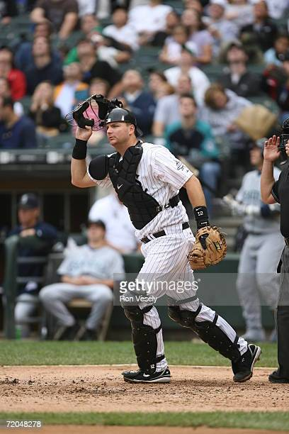 Pierzynski of the Chicago White Sox looks to field a bunt during the game against the Seattle Mariners at U.S. Cellular Field in Chicago, Illinois on...