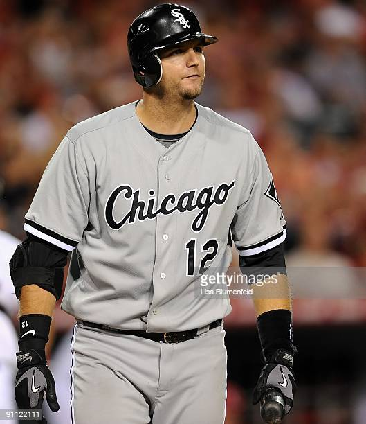 J Pierzynski of the Chicago White Sox walks back to the dugout after striking out against the Los Angeles Angels of Anaheim at Angel Stadium of...