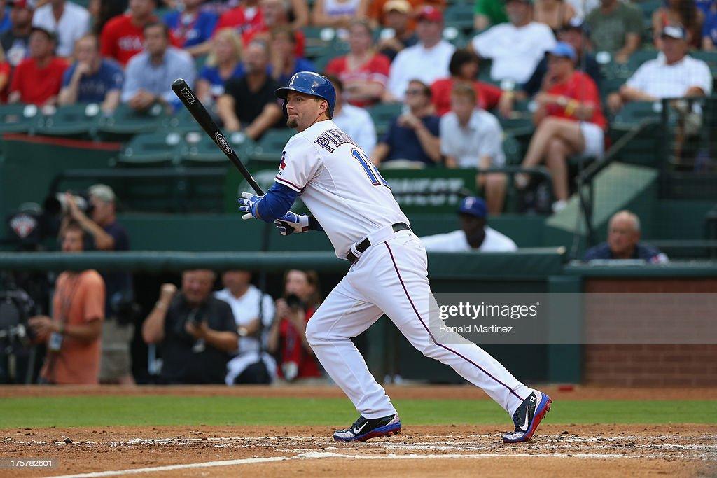 A.J. Pierzynski #12 of the Texas Rangers at Rangers Ballpark in Arlington on July 31, 2013 in Arlington, Texas.
