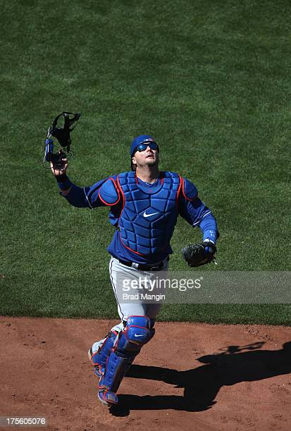 Pierzynski of the Texas Rangers chases a foul pop up against the Oakland Athletics during the game at O.co Coliseum on Sunday, August 4, 2013 in...