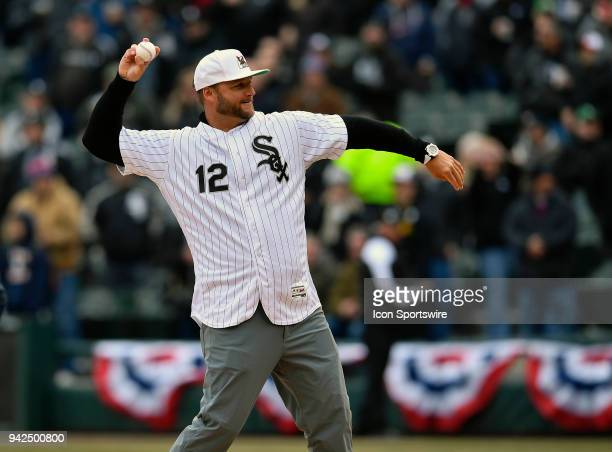 J Pierzynski throws the ceremonial first pitch before the Opening Day home game between the Chicago White Sox and the Detroit Tigers on April 5 2018...