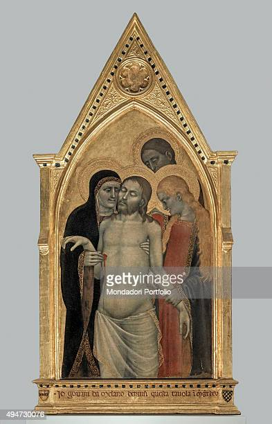 Pietà by Giovanni da Milano 14th Century tempera and gold on board 122 x 58 cm Italy Tuscany Florence Accademia Gallery Whole artwork view Pity of...