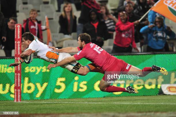 Piet van Zyl and Luke Morahan of the Reds of the Cheetahs during the Super Rugby match between Toyota Cheetahs and Reds from Free State Stadium on...