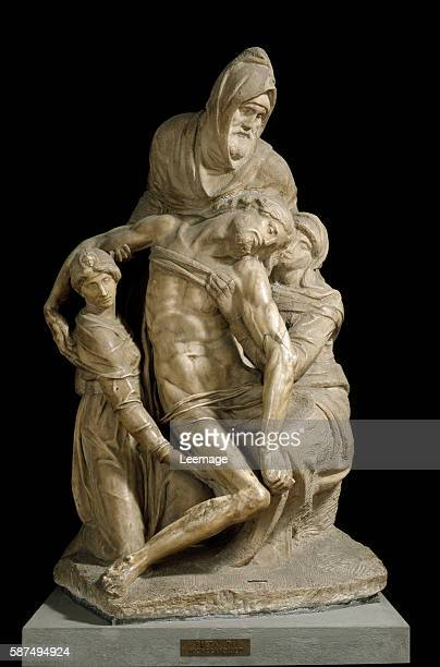 Pieta Bandini or Pieta with four figures St Mary Magdalene St Nicodemus and the Virgin Mary around the body of Jesus Christ Marble sculpture by...