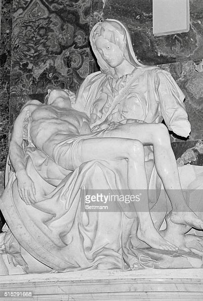 Pieta Damaged Vatican City Rome Italy Michelangelo's statue of the Pieta after a hammerwielding man attacked the masterpiece in St Peter's Basilica...
