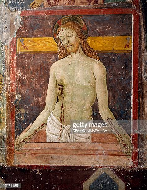 Pieta fresco by Antoniazzo Romano in the Chapel of St Gregory in Sacro Speco Monastery Subiaco Italy 15th century