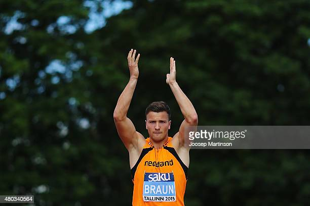 Pieter Braun of Netherlands competes in the Decathlon Long Jump on day three of the European Athletics U23 Championships at Kadriorg Stadium on July...