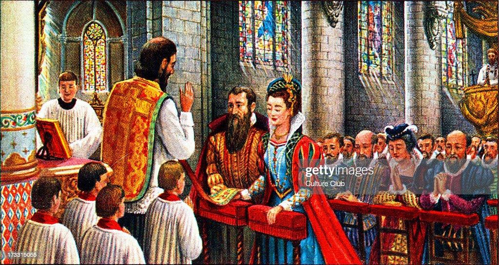 Pieter Bruegel marrying Maria Coecke van Aelst : Nachrichtenfoto